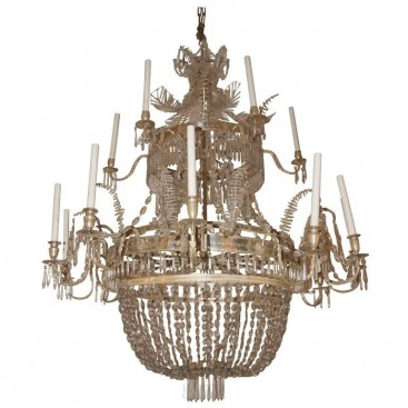 Important chandelier, glass and silver brass, circa 1925, Sweden.