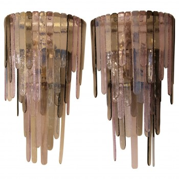 Pair of Murano glass sconces in the style of Leucos, circa 2000, Italie.