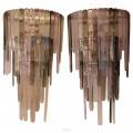 Paire d'appliques en verre de Murano dans le style de Leucos, circa 2000, Italie.
