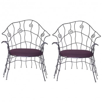 Style Serge Dubreuil, pair of armchairs, Iron, Circa 1970, France.