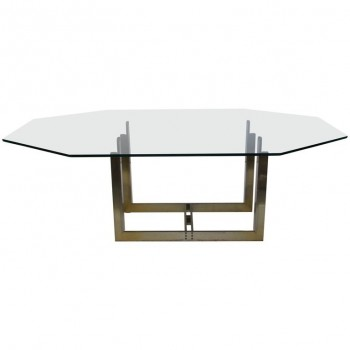 Carpo Scarpa, dining room table, bronze and glass, First Gavina Edition, Sarpi model, circa 1970, Italy.