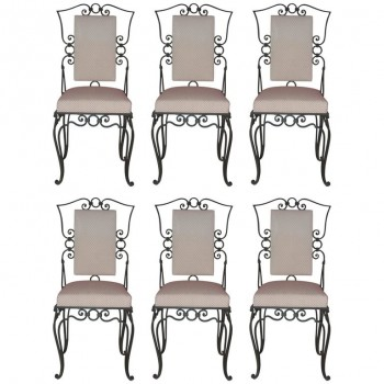Style Jean-Charles Moreux, set of six chairs, green iron and textile, circa 1960, France.