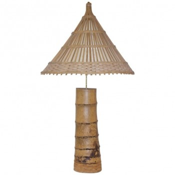 Important bamboo table lamp, circa 1970, France.