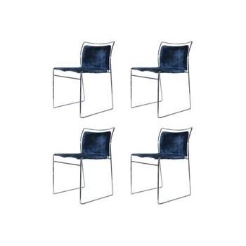 Takahama Kazuhide, set of four chairs, Tulu model, Simon Gavina edition, metal and textile of origin, circa 1969, Italy.