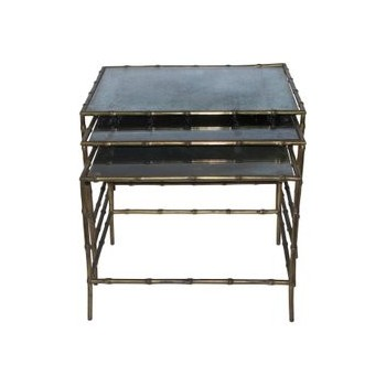 Maison Baguès, three nesting tables, bronze and aged glass top, circa 1970, France.