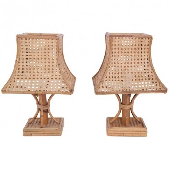 Pair of Pagoda Table Lamps, Bamboo, circa 1960, France