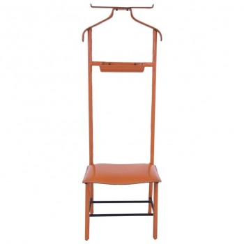 Jacques Adnet, Valet of Night, Orange Hermès Faux Leather and Iron Structure