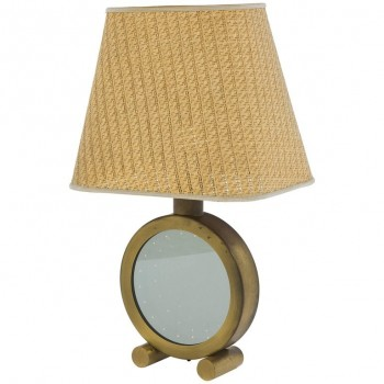 Table Lamp, Polished Brass and Glass, circa 1970, Italy