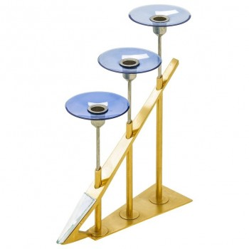 Fontana Arte Candlesticks, Gilt Brass and Colorated Glass, circa 1950, Italy