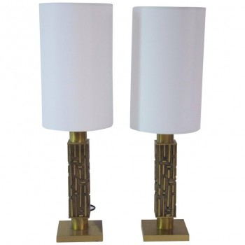 Frigerio, Pair of Table Lamps, Gilded Bronze, circa 1970, Italy