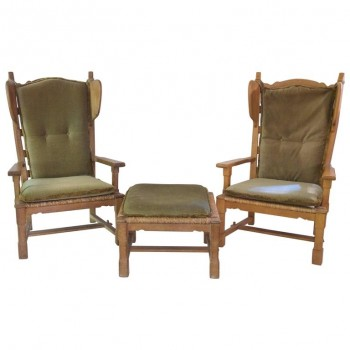 Jacques Guillerme and Chambron, Set of Four Armchairs and One Stool, circa 1950