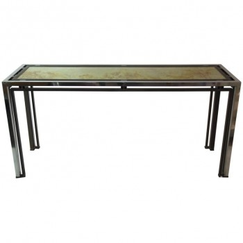 Romeo Rega, Console Table, Aluminium, Golden Brass and Fixed under Glass