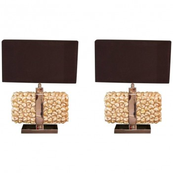 Pair of Table Lamps, Metal and Shell, circa 1970, France