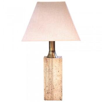 Fratelli Mannelli, lampe de table en travertine et laiton doré, circa 1970, Italie