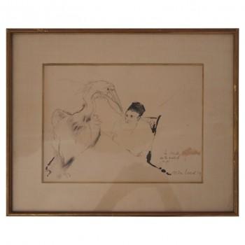 Max Jacob, La Muse autoritaire de la maladie de foie, dessin signé et daté 1939, France