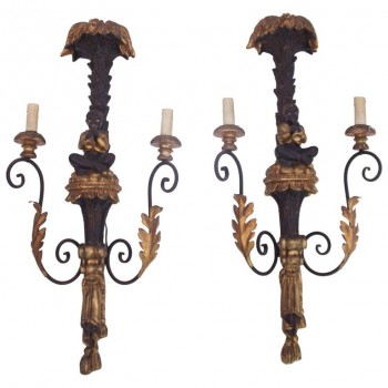 Pair of Applique Palms, Wood Carved Painted and Gilded Iron, circa 1960, France
