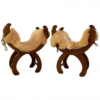 Suite of Four Curule Stools, Wood and Sheepskin of Origin, Rope, circa 1960