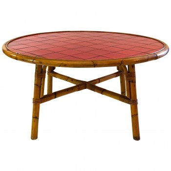 Audoux-Minet, Dining Room Table, Bamboo and Vallauris Ceramic, circa 1960