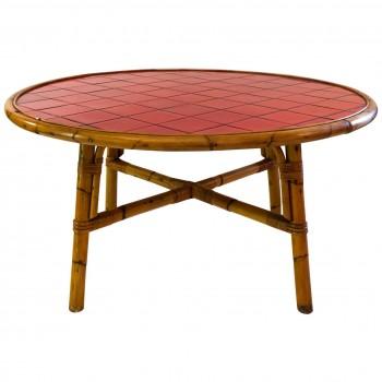 Audoux-Minet, table de salle à manger, bambou et céramique rouge de Vallauris, circa 1960, France