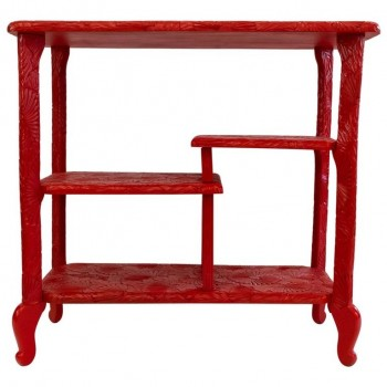 Console, Indochinese Work, Red Lacquered Wood, circa 1960, France