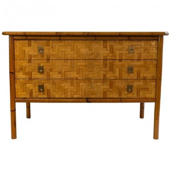 Chest of Drawers with Three Drawers, Bamboo Marquetry, circa 1970, France