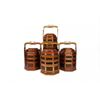 Set of four baskets, lacquered wood, gilded brass, China, circa 1970
