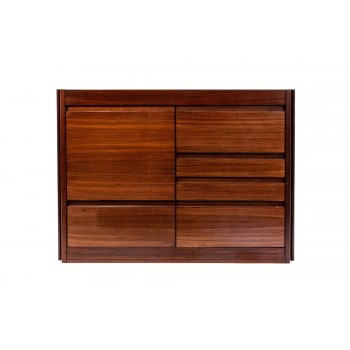 Angelo Mangiarotti, Sideboard, Wood and Marble, France, circa 1970