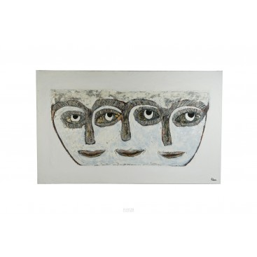 Remi Pesce (1930), Les Masques Painting, signed, circa 1992, France