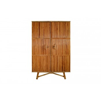 Audoux-Minet Wardrobes, Rattan and Wood, France, circa 1965