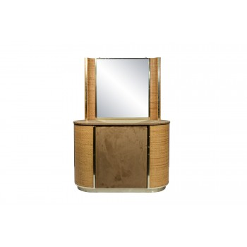 Commode with Mirror, Rattan, circa 1970, Italy