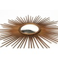 Chaty Vallauris, Wall Mirror, Signed, Metal Gilted, circa 1970, France