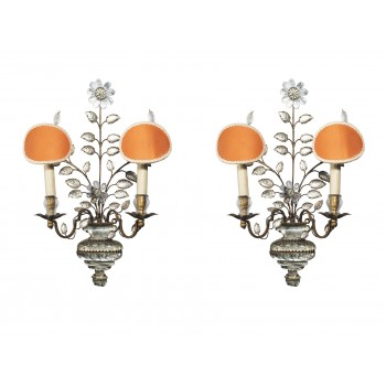 Maison Baguès, Set of Four Sconces, Murano Glass, France, circa 1950