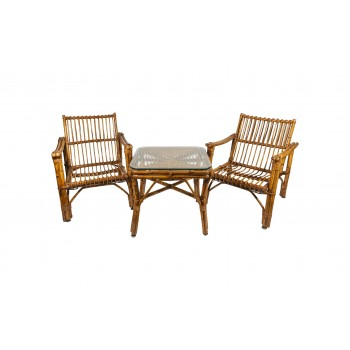Pair of Armchairs with Coffee Table, Bamboo, circa 1970, France