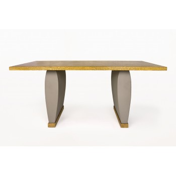 Olivier Gagnère, Neotù Table, Oak and Gray Leather, circa 1995, France