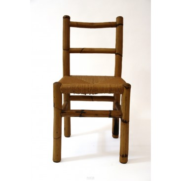 Set of Four Chairs, Wood and Bamboo, circa 1970, France