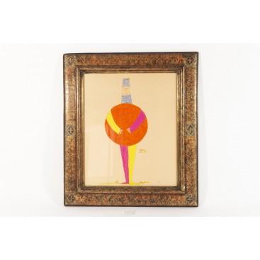 "Paul Colin (1892-1985), watercolor ""Character"", circa 1930, France"