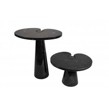 Angelo Mangiarotti, Two Side Tables, Black Marquina Marble, Italy, circa 1980