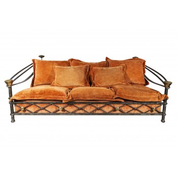 Brutalist Sofa, Iron and Brass, France, circa 1970