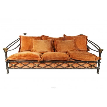 Brutalist Sofa, Iron and Brass, France, circa 1970