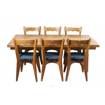 Guillerme & Chambron, Dinner Table and Set of Six Chairs, France, circa 1950