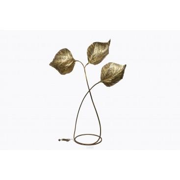 Tommaso Barbi, Rhubarb Floor Lamp, Golden Brass, Italy, circa 1970