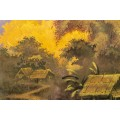 Thanh Ley, Lacquer on Wooden Tray, Lake Village, Signed, circa 1960, Vietnam