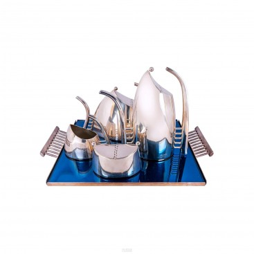 "Lino Sabattini, Coffee and tea service, Model ""Fenice"", circa 1989"