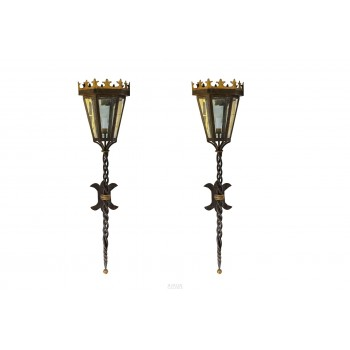 In the Style of Poillerat, Pair of Sconce Lanterns, France, circa 1960