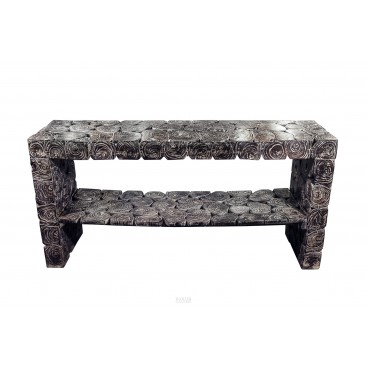 Blackened Wooden Logs Console, France, circa 1980