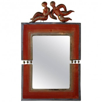 Georges Pelletier, Ceramic Mirror, Signed, Circa 1960, France.