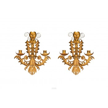 "Pair of Sconces ""Commedia dell'arte"", France, circa 1960"