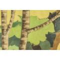 """Gabriel Carriat-Rolant, Painting """"Fantastic Landscape"""", France, circa 1950"""