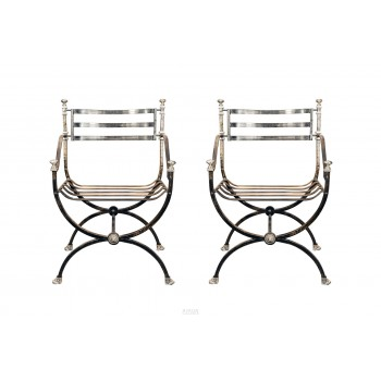 Pair of Armchairs, Blackened Steel and Silvered Bronze, France, 1970