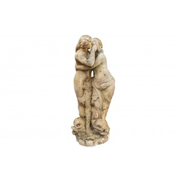 Fountain Top with Two Feminine Figures, Carrara Marble, France, 18th Century
